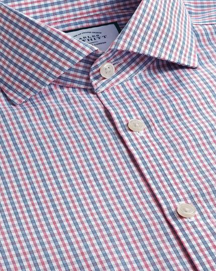 Bügelfreies Popeline-Hemd mit Haifischkragen und Karos - Blau & Rot