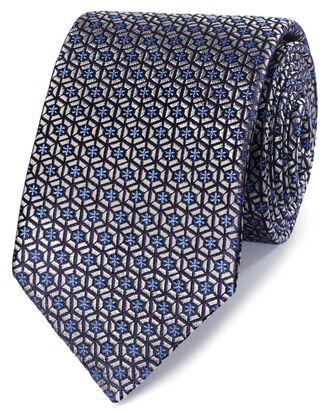 Silver and blue silk mosaic English luxury tie
