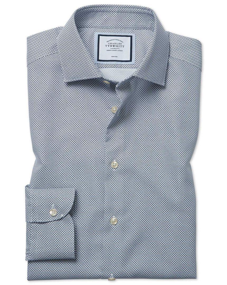 Classic fit non-iron circle print navy shirt