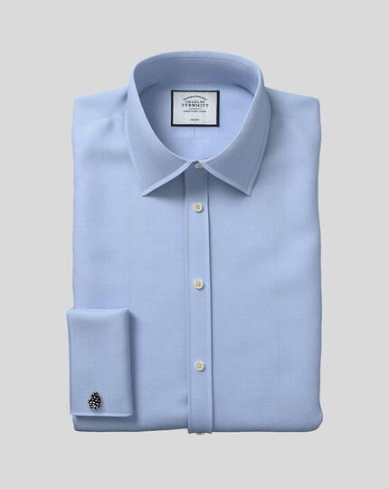 Classic Collar Non-Iron Herringbone Shirt  - Sky