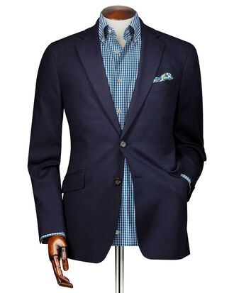 Slim fit navy textured stretch cotton blazer