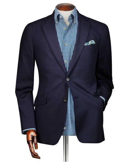 Slim Fit Blazer aus strukturiertem Baumwoll-Stretch in Marineblau