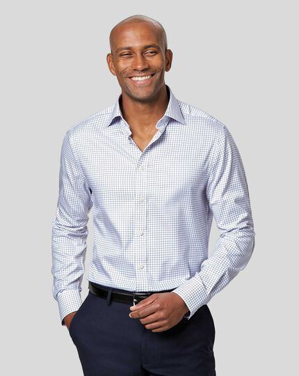 Semi-Cutaway Collar Egyptian Cotton Twill Check Shirt - Royal Blue