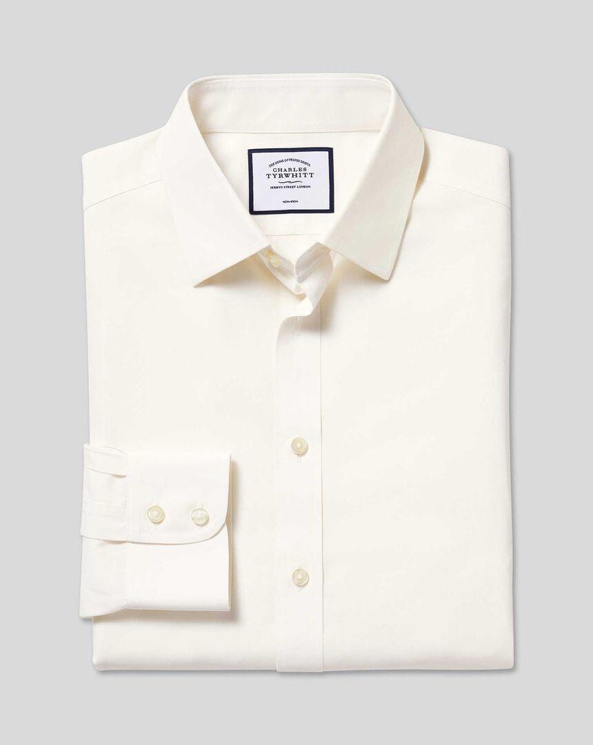 Classic Collar Non-Iron Poplin Shirt  - Cream