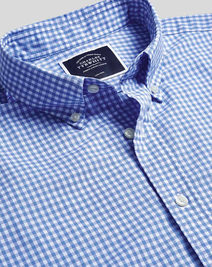 Button-Down Collar Non-Iron Stretch Poplin Gingham Short Sleeve Shirt - Sky