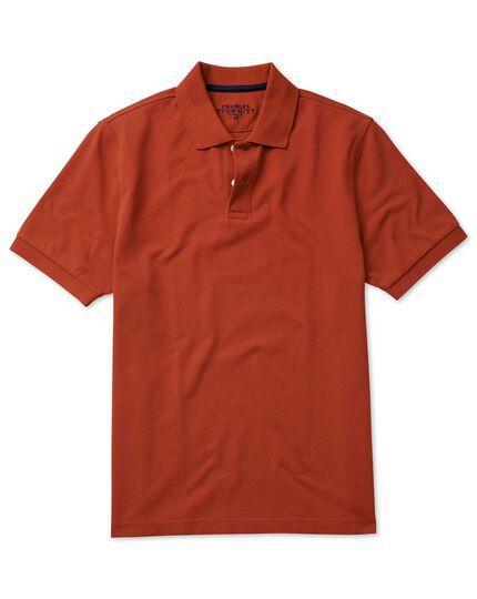 Burnt orange cotton pique polo