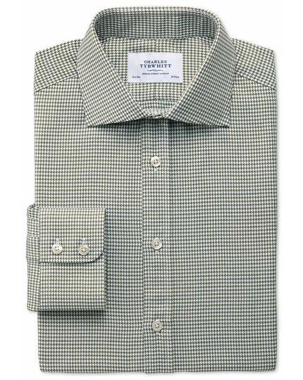 Slim Fit Hemd mit Semi-Haifischkragen in Khaki-melange mit Hahnentritt