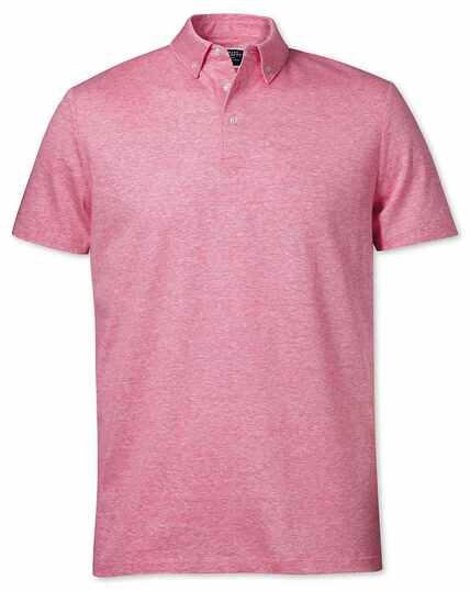 Pink cotton linen polo