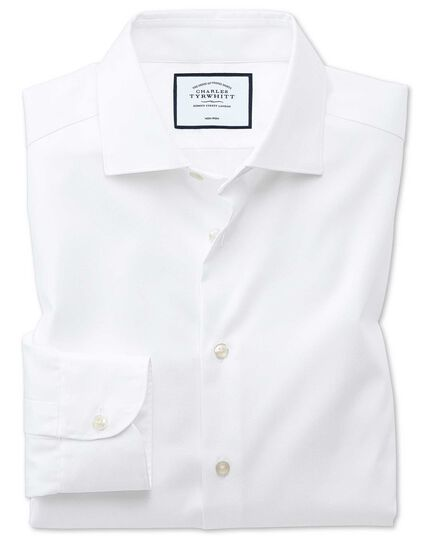 Classic fit semi-spread collar business casual non-iron modern textures white shirt