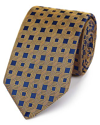 Navy and gold silk hexagon geometric English luxury tie