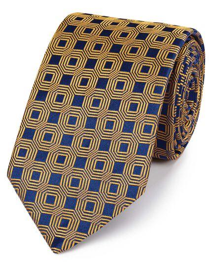 Englische Luxuskrawatte aus Seide mit Sechseckmuster in Marineblau und Gold