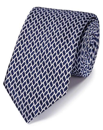 Cravate classique géométrique bleu roi en soie