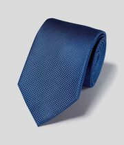 Stain Resistant Silk Textured Plain Classic Tie - Royal Blue