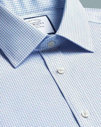 Slim fit non-iron sky blue mini grid check twill shirt