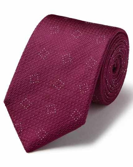 Burgundy silk textured square design classic tie
