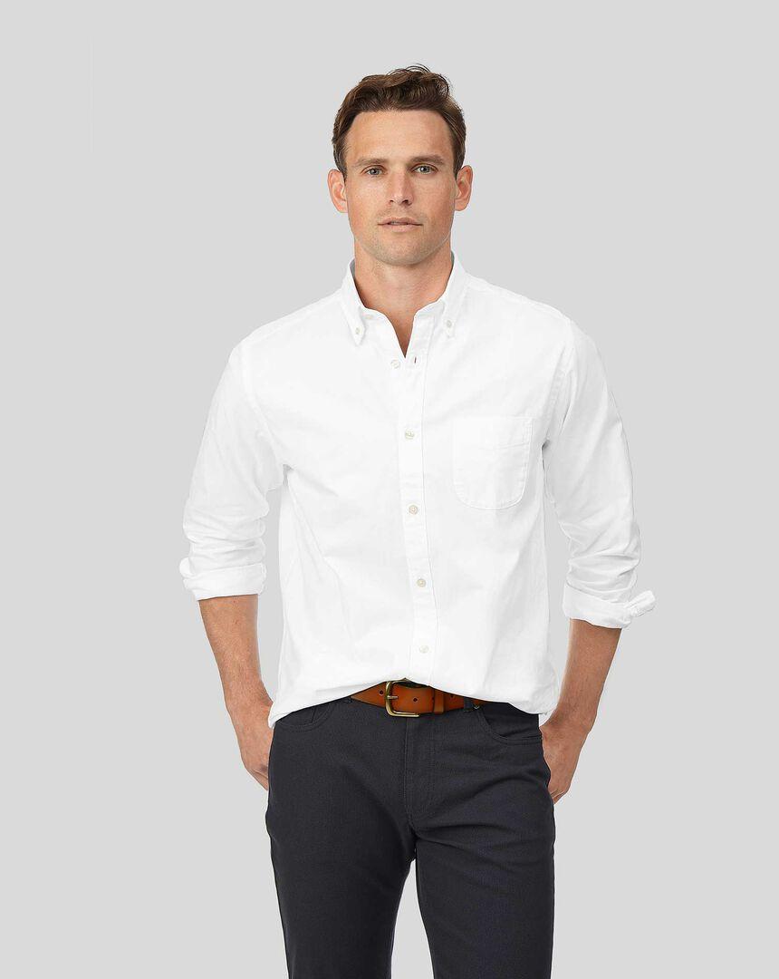 Oxfordhemd mit Button-down-Kragen - Weiß