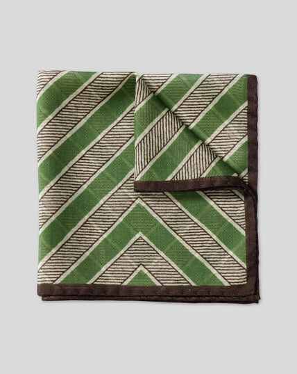 Zig Zag Wool Silk Pocket Square - Green