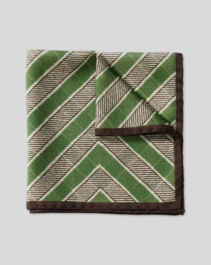 Einstecktuch aus Seide-Wolle-Mix mit Zickzack-Print - Grün
