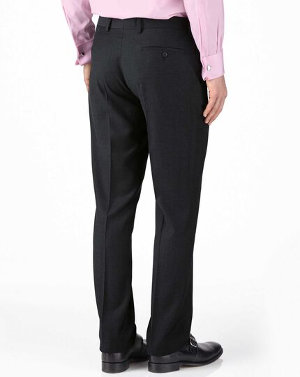 Charcoal extra slim fit twill business suit trouser