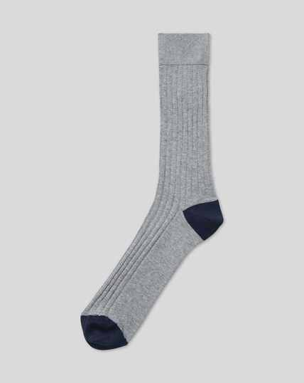 Cotton Rib Socks - Grey