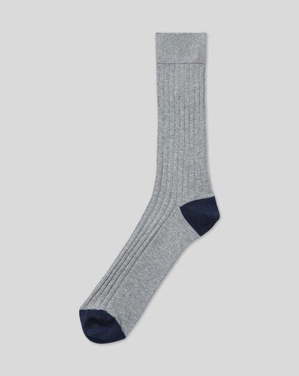 Cotton Rib Socks - Grey