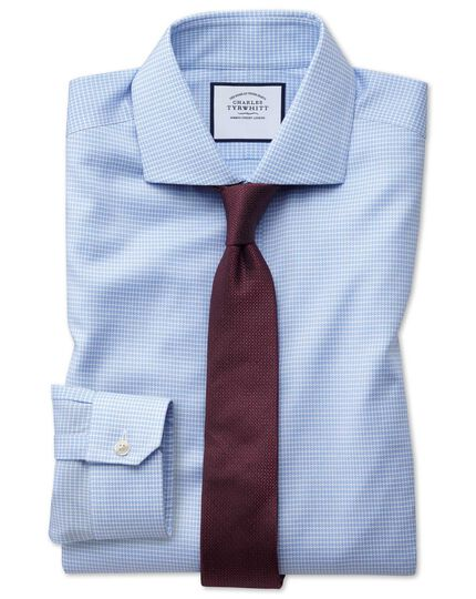 Super slim fit non-iron sky blue puppytooth Oxford stretch shirt