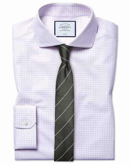 Super slim fit non-iron cutaway 4-way stretch lilac check shirt