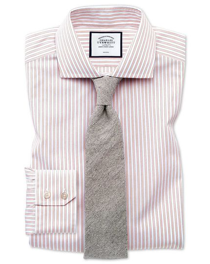 Slim fit non-iron shadow stripe pink shirt