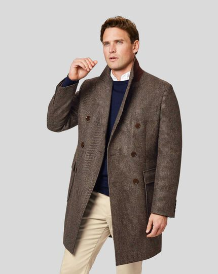 Checked British Wool Double Breasted Epsom Coat - Brown