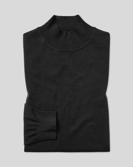 Dark charcoal merino turtle neck jumper