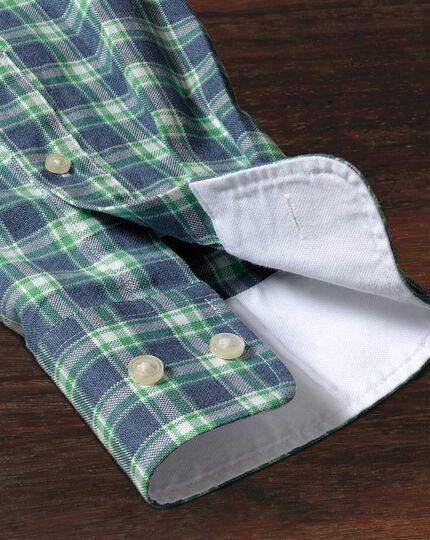 Extra Slim Fit Oxfordhemd in Blau und Grün mit Karos