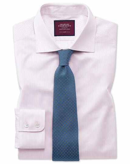 Classic fit luxury non-iron fine stripe pink shirt