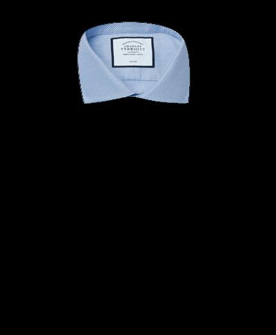 Chemise à col cutaway en tissage Buckingham bleue extra slim fit sans repassage