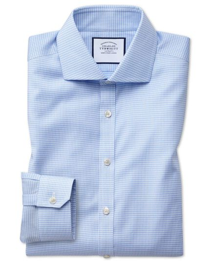 Super slim fit non-iron cutaway collar sky blue puppytooth Oxford stretch shirt