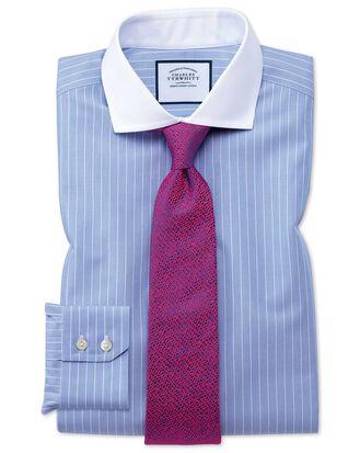 Slim fit spread collar non-iron Winchester blue and white shirt