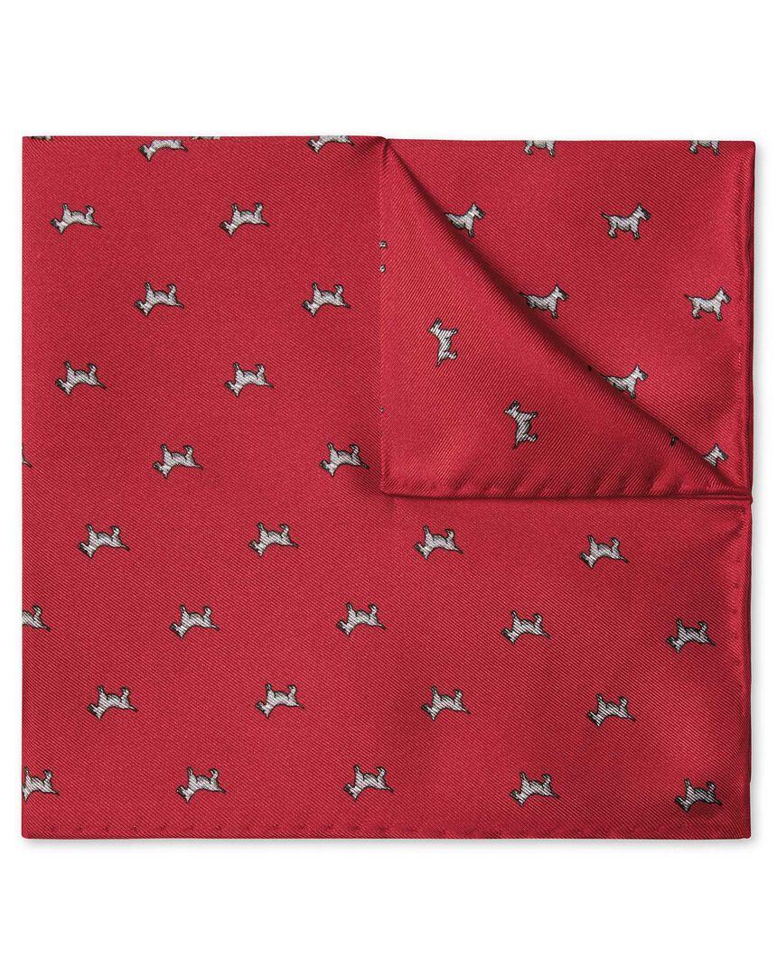 Red Scottie dog print pocket square