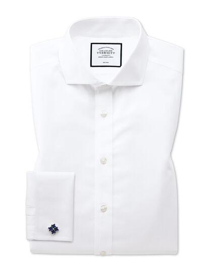 Classic fit white non-iron twill spread collar shirt