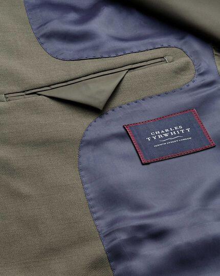 Olive slim fit twill business suit jacket