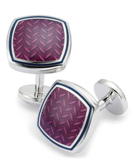 Berry enamel herringbone square cufflinks