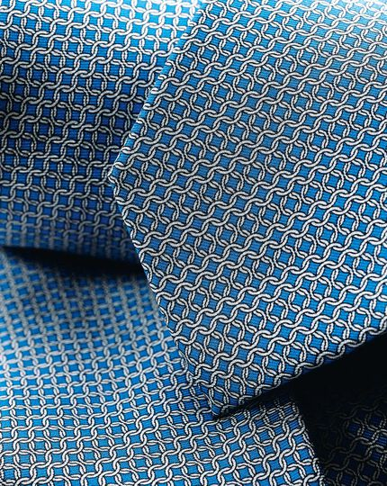 Silk Chain Print Tie - Blue