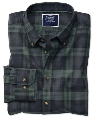 Extra slim fit navy and green check herringbone melange shirt