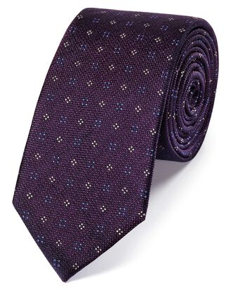 Purple silk textured neat slim tie