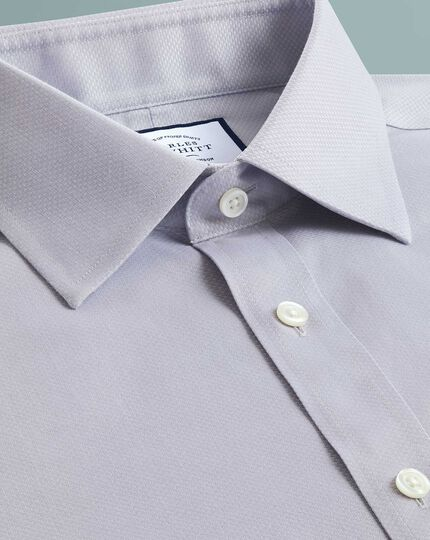 Slim fit non-iron grey triangle weave shirt