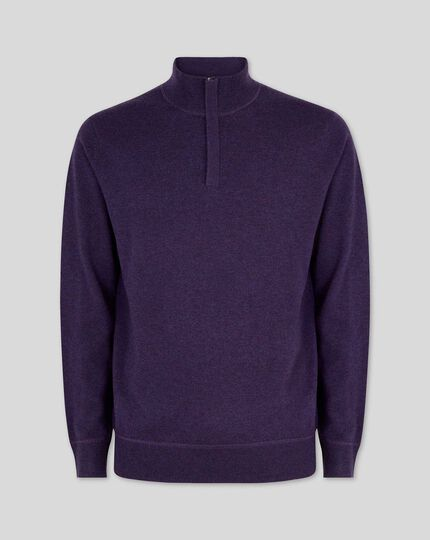 Dark purple merino cashmere zip neck jumper