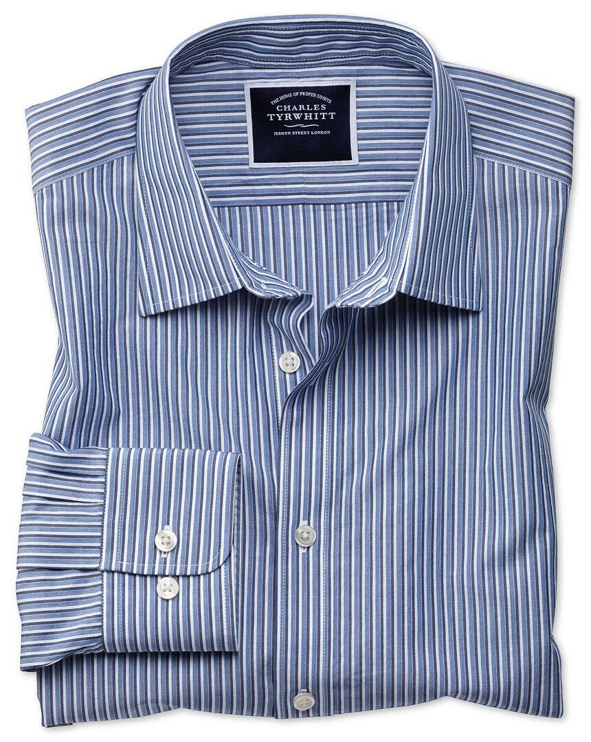 Classic fit blue stripe soft washed shirt