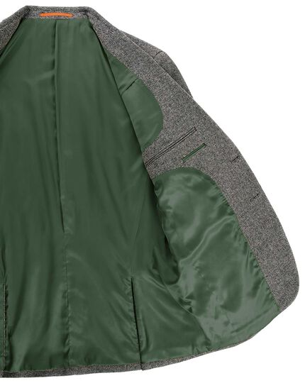 Classic fit light grey semi plain textured wool jacket