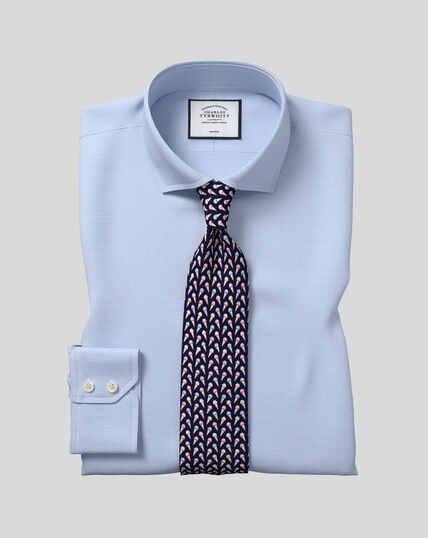Chemise pied-de-poule à col cutaway sans repassage  - Bleu ciel
