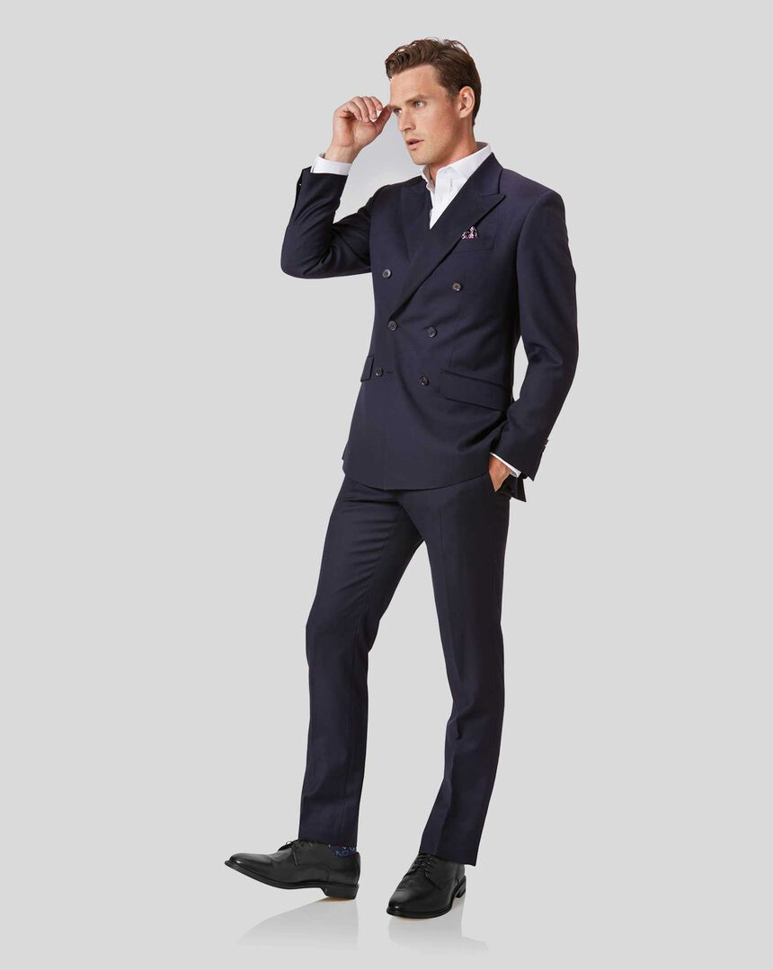 Twill Business Double Breasted Suit - Navy