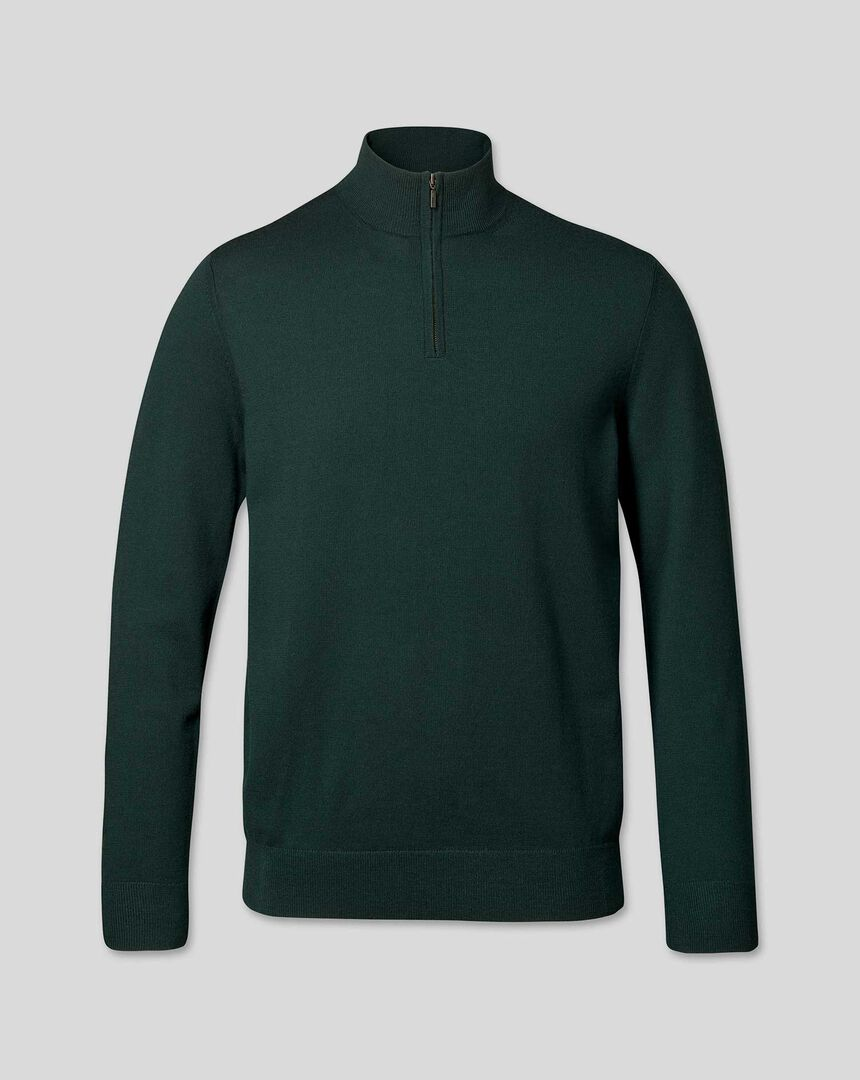 Merino Zip Neck Jumper - Forest Green