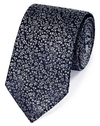 Cravate classique bleu marine et argent en soie à fleurs